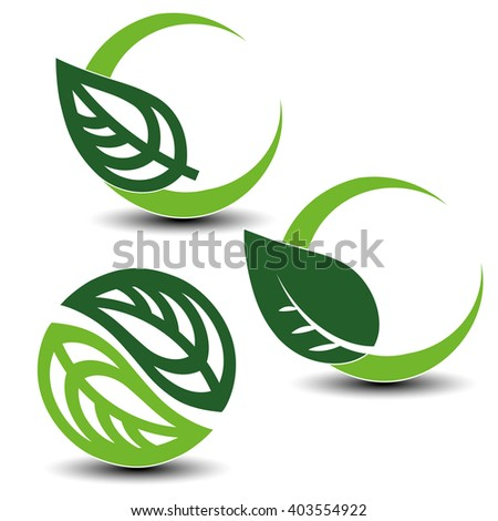 Vector nature circular symbols with leaf, natural simple elements, green eco labels with shadow - set 2