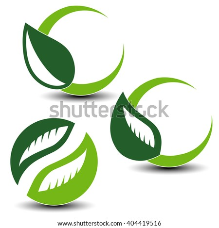 Vector nature circular symbols with leaf, natural simple elements, green eco labels with shadow - set 5  - stock vector