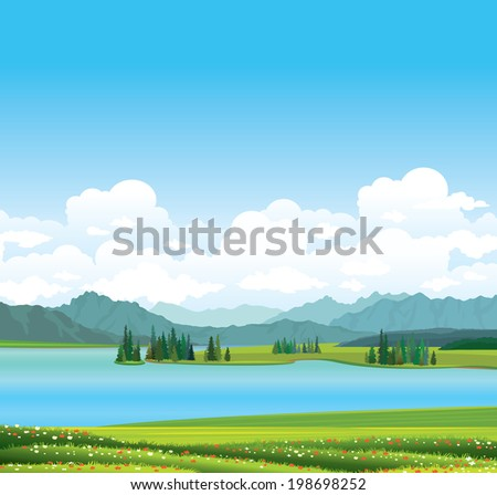 Vector nature landscape  - green grass with red flowers and blue lake with mountains on a blue sky.