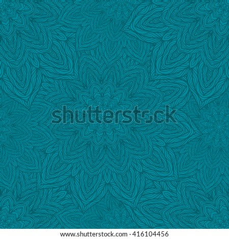 Vector nature seamless pattern with abstract flowers. Vector round mandala in childish style. Ornamental doodle background.