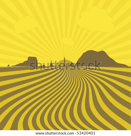 vector nature yellow rays background