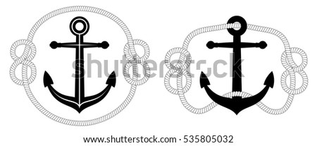Vector Nautical Anchor with rope - two variations. Isolated on white