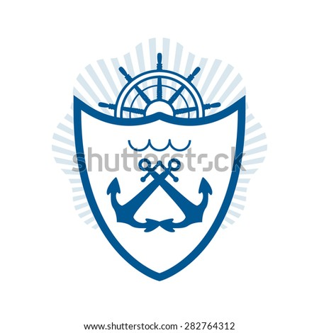 vector nautical label. vintage logo, icon and design element. - stock vector