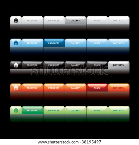 vector navigation buttons, fully editable with text in separate layer - stock vector