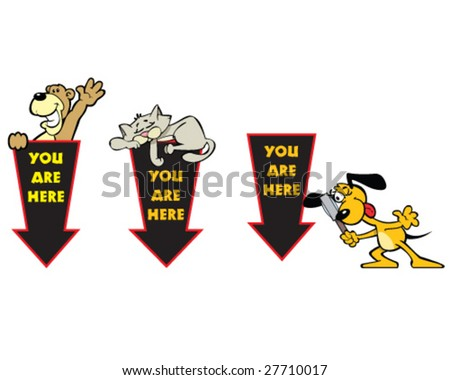 vector navigation set - you are here arrows with cartoon animals - stock vector
