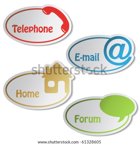 Vector navigation - telephone, email, home, forum - stock vector