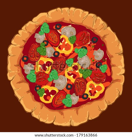 vector neapolitan pizza with mozzarella, tomato and basil, pepper, olive, mushroom - stock vector