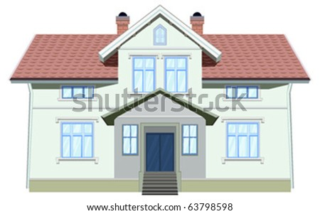 vector neat  home isolated on white - stock vector