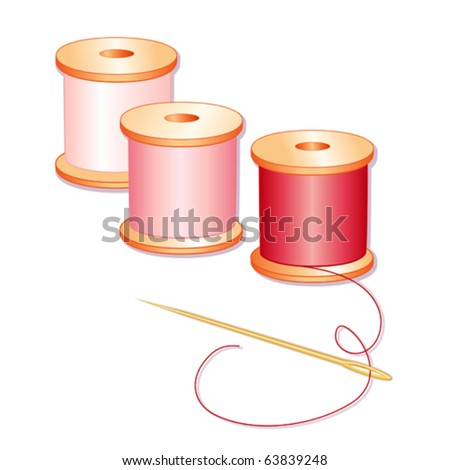 vector – Needle and Threads. Gold needle, pastel pink, rose, red spools isolated on white background for sewing, tailoring, quilting, needlework, crafts and do it yourself projects. EPS8 compatible. - stock vector