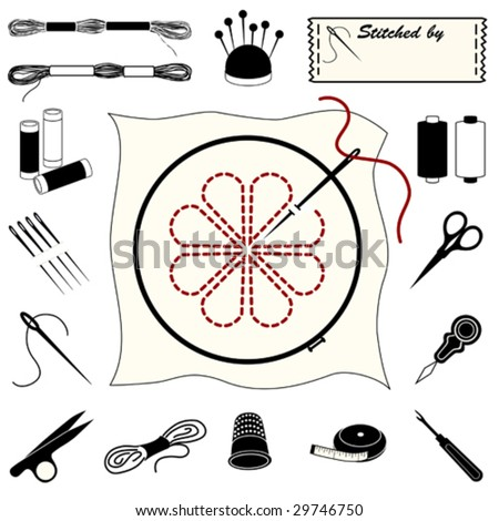 vector – Needlework Icons, sewing label with copy space. For embroidery, needlecraft, applique, brocade, crewel, cross stitch, needlepoint, stitchery, tapestry, do it yourself crafts, hobbies. EPS8.  - stock vector