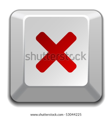 vector negative checkmark key - stock vector