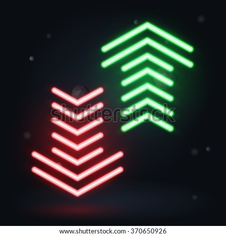 Vector neon illustration, up and down arrows on dark background - stock vector