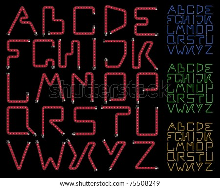 Vector neon lamps alphabet on a black background - stock vector