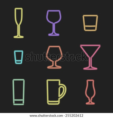 vector neon light sign various color alcohol glasses icons on dark background  - stock vector