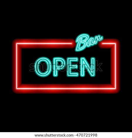 Vector neon sign type bar open vector de stock470721998 shutterstock vector neon sign with type bar open red and blue neon lights aloadofball Images