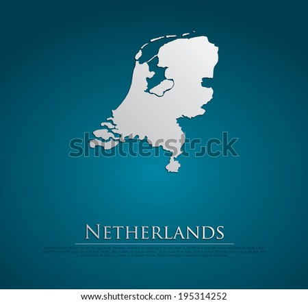 vector Netherlands Map card paper on blue background, high detailed - stock vector