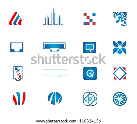 Vector network icons set  |  Abstract signs for intellectual technology business | EPS8 vector - stock vector