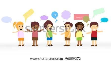 vector network of children's social - stock vector
