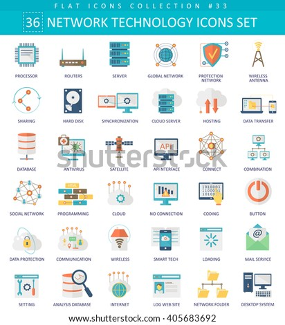 Vector Network technology color flat icon set. Elegant style network icons design - stock vector