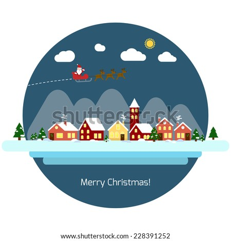 Vector New Year and Merry Christmas greeting card with flying Santa and deer and winter landscape in circle. EPS 10 - stock vector