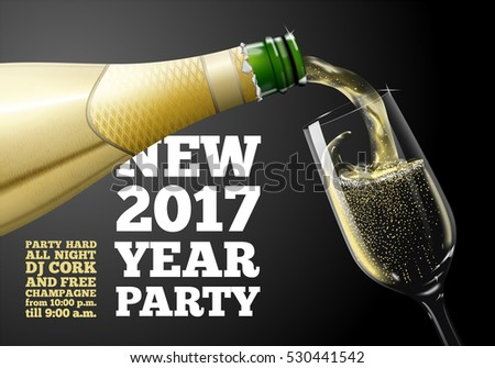 Vector new year banner, invitation with champagne pouring in glass