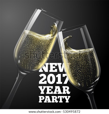 Vector New Year Banner with transparent champagne glasses.