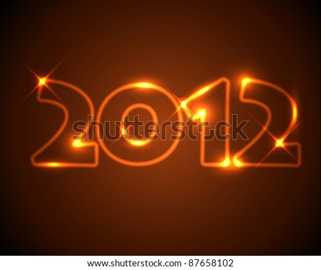 Vector New Year card 2012 - golden / orange neon numbers - stock vector