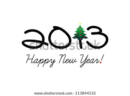 Vector New year 2013 card, Vector Christmas 2013 card - stock vector