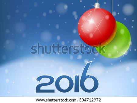 Vector New Year card 2016 with holiday decorations, eps10  - stock vector