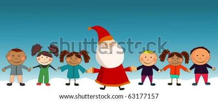 Vector New year card with kids. - stock vector
