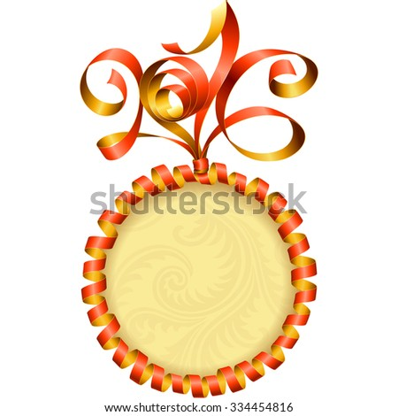 Vector New Year 2016 circle frame. Red streamer - stock vector