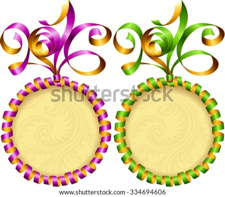 Vector New Year 2016 circle frame set. Purple and green streamer - stock vector