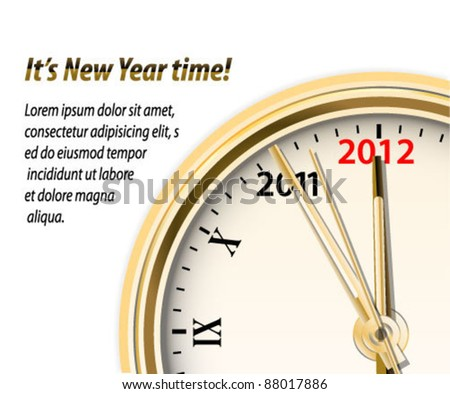 Vector New Year clock dial  background - stock vector