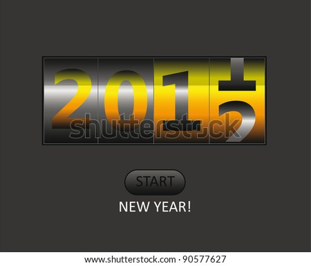 vector new year counter for 2012 with start button - stock vector