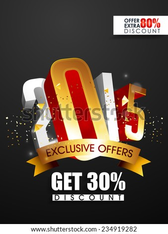 Vector New year 2015 flyer for discount sale and offers with stylish text. - stock vector