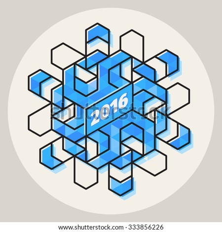 Vector New Year 2016 Geometric Blue Snowflake Shape In Circle With Line Art Stroke Offset Abstract Design Element - stock vector