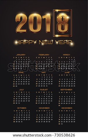 Vector 2018 New Year, golden 2018  numbers on a black background, pocket calendar for 2018