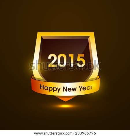 Vector new year 2015 golden shield design with stylish text. eps10  - stock vector