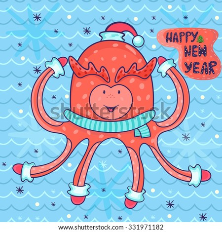 vector new year greeting card in childish style. happy octopus in Santa hat, scarf, gloves. amazing festive background of sea waves and snowflakes. - stock vector