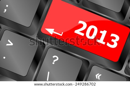 vector 2013 new year keyboard key button close-up