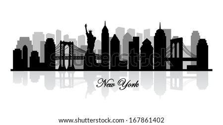 vector new york skyline silhouette - stock vector