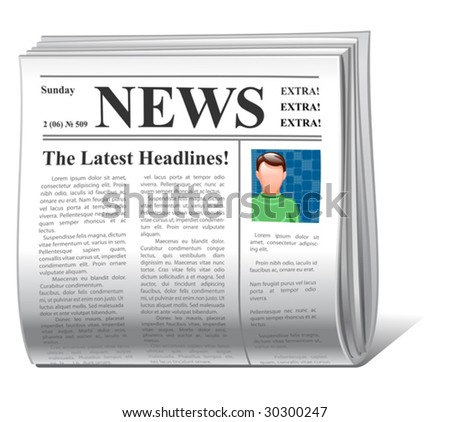 vector news icon front page - stock vector