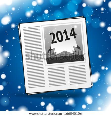 Vector 2014 newspaper icon - stock vector