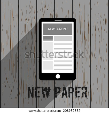 Vector newspaper icon, business news. - stock vector