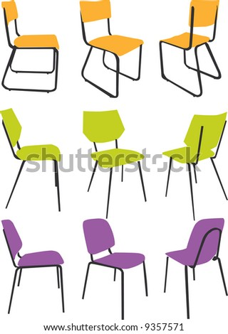 vector - nice design chair collection with bright color - stock vector