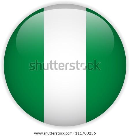 Vector - Nigeria Flag Glossy Button - stock vector