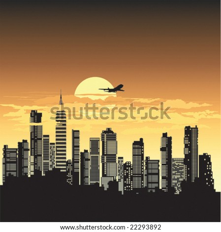Vector night city at sunset - stock vector