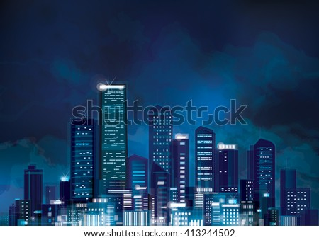 Vector night cityscape. - stock vector