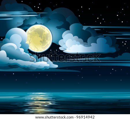 Vector night cloudy sky with stars, yellow moon and calm sea - stock vector