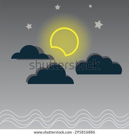 Vector night cloudy sky, yellow moon and sea. - stock vector